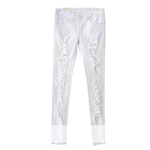 Élastique Taille Solide Pantalon En White Denim Trou Crayon Jeans Haute Long drCQoxBeWE