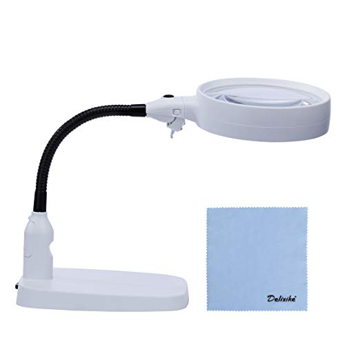 Delixike Large 10X Magnifying Lamp - Folding Design with 6 LED Lamp - Great Hands Free Desktop Magnifying Glass for Reading,Hobbies,Crafts,Workbench