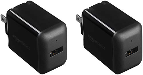 AmazonBasics One-Port USB Wall Charger for Phone, iPad, and Tablet, 2.4 Amp, Black, 2 Pack