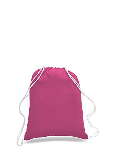 TotesRus [PACK OF 2] 100% Cotton Gym Drawstring Backpacks Cinch Bags - 24 Colors (Hot (Custom Cinch Bags)