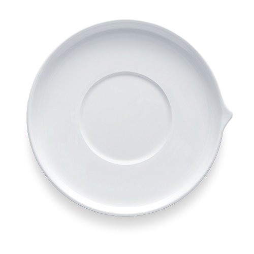 Bon Chef 1400007P Stacked Lines 5.5 Inch x 5.5 Inch x 0.75 Inch Round Saucer, Fine Porcelain Dinnerware, White (Pack of 36) ()