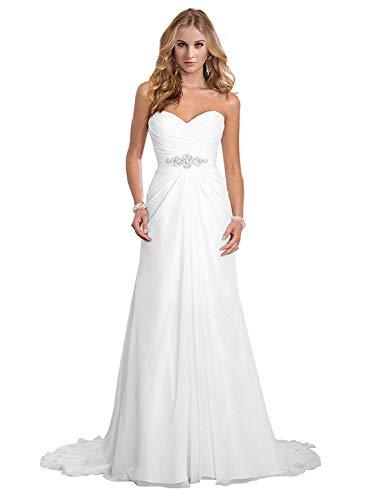 Dreambridal Simple A Line Chiffon Bride Wedding Dress, White, Size 2