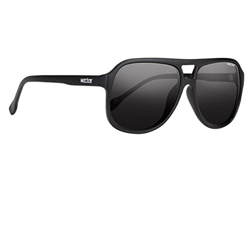 Classic Black Plastic Aviator Sunglasses - Black Polarized Lenses & UV Protection - The Midnite by - Store Nectar