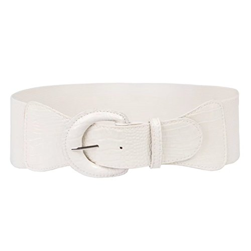 Women Elastic Halloween Wide Waist Cinch Belt (XL,White)