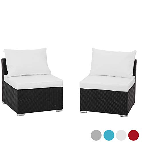 GREARDEN 2PCS PE Rattan Wicker Sofa Sets Patio Furniture Set Outdoor Sectional Coversation Sofa Set with Glass Coffee Table