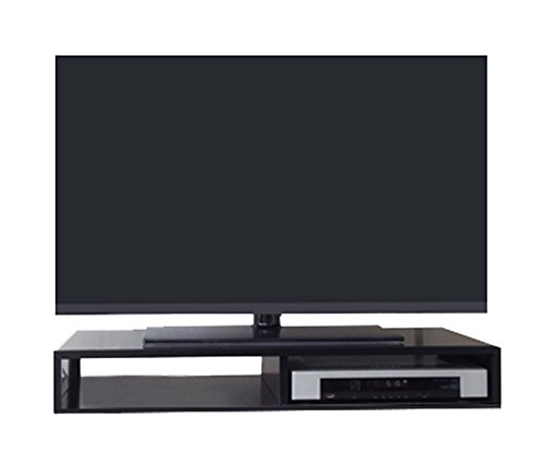 RIZERvue TV Stand for Flat Screen Satin Black Tabletop Supports Up to 50 Diagonal Flat Screen No Assembly Required, Ships Fully Assembled