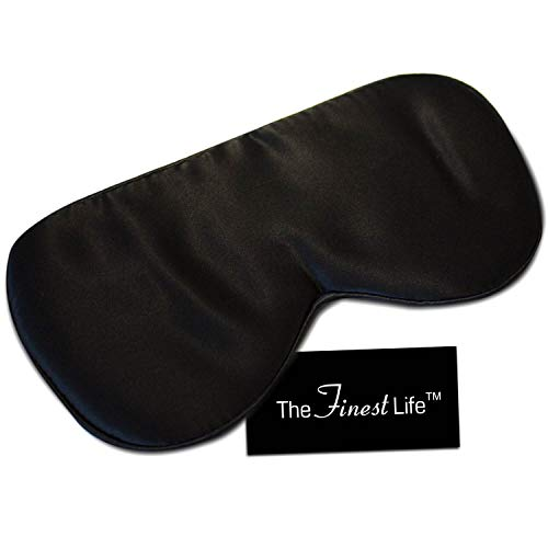 The Finest Life 100% Silk Sleep Mask Great For Sleep, Premium Quality with Adjustable Strap, Sleeping Aid, Blindfold, Perfect for Women, Men, Girls, Boys (Black)