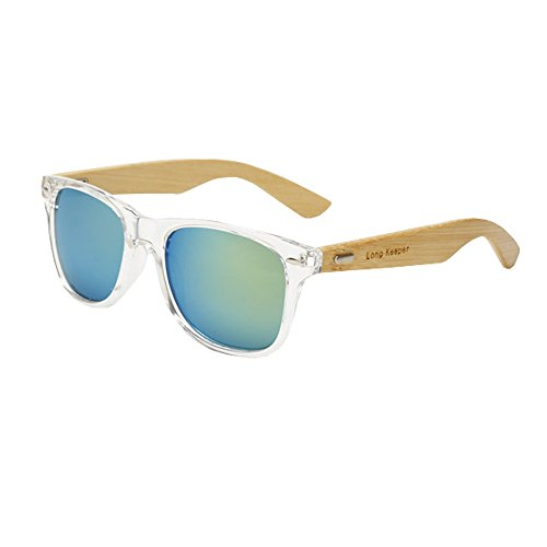 Long Keeper Bamboo Wood Arms Sunglasses for Women Men (Transparent, Gold)