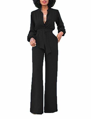 Guolezeev Jumpsuits Women Elegant Sexy V Neck Long Sleeve Rompers High Waist Playsuit Xl