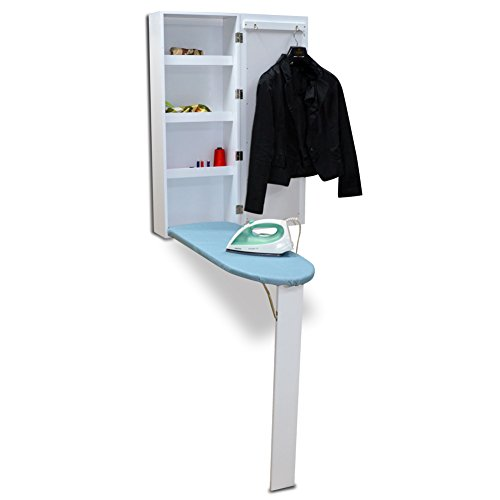 Organizedlife White Wall Mount Ironing Board Center Cabinet with Mirror and Storage Shelves by Organizedlife