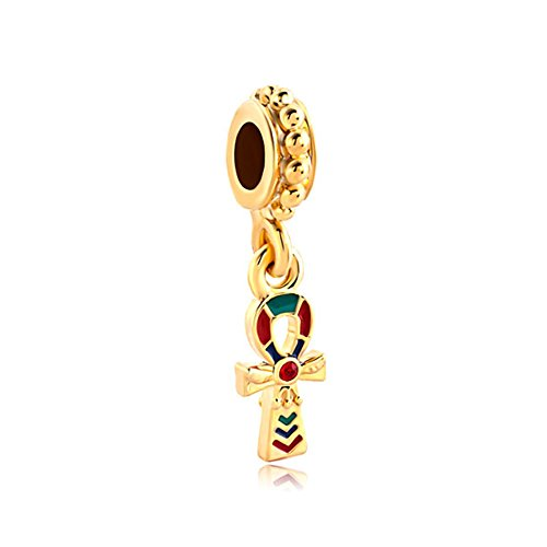 LovelyJewelry Gold Tone Egyptian Ankh Cross Red Swarovski Elements Crystal Dangle Spacer Bead s Bracelet