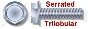 (24000PC) 1/4'-20 X 1/2', Trilobular Thread-Rolling Screws, Hex Indented Washer, No Slot, Serrated, Full Thread, Steel, Zinc Plated and Waxed Ships FREE in USA by Aspen Fasteners