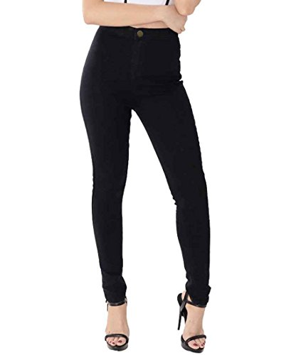 ESDAMIER Women's Basic High Waist Skinny Jeans Denim Pants with Pockets(Black, L)