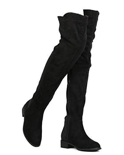 Nature Breeze Precise 01 OK Womens Mixed Media Thigh High Chunky Heel Riding Boot Black 6