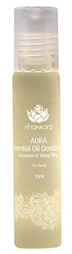 Shankara Aura Essential Oil Deodorant - All-Natural Deodorant - Vegan, Anti-Bacterial, Odor-Fighting Roll-On Deodorant - Men & Women - Paraben & Aluminum Free Deodorant - Geranium & Ylang Ylang -10 ml