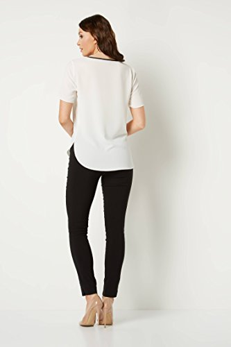 Manches Contraste Rond Ivoire Shirt T Simple Confortable Roman Casual Soire Col Decontract Courtes Originals Femme Uni aIqpnF0