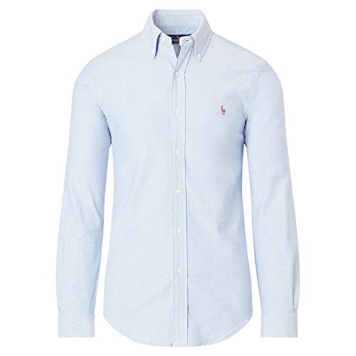 Sports Button Oxford Shirt Down - Polo Ralph Lauren Mens Stretch Oxford Slim Fit Sport Shirt, BasicBlue XXL