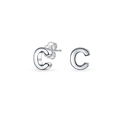 Bling Jewelry Modern Alphabet Letter C Initial Stud earrings 925 Sterling Silver 55mm