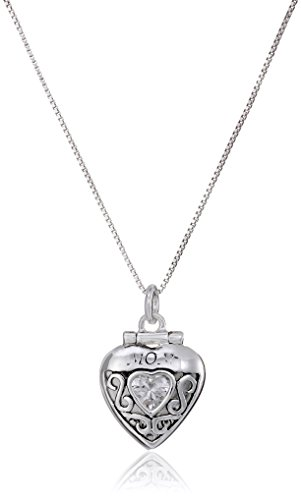 "Sterling Silver ""Mom I Love You XOXOXOX"" Cubic Zirconia Heart Pendant Necklace , 18"""