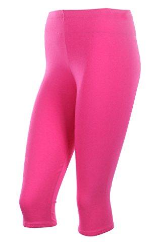 Ola Mari Capri Leggings Pants Capris For Women & Plus Size Plain Cotton, Medium, Hot Pink