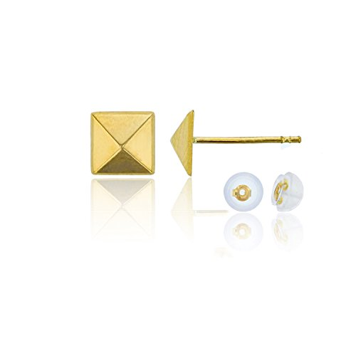 14K Yellow Gold 6.30mm Pyramid 3D Stud Earrings with 14K Silicon Earring Back
