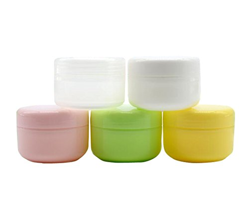 5Oz (150g) Refillable Plastic Make-up Cosmetic Jars Empty Face Cream Eye Shadow Lip Balm Lotion Storage Container Pot Bottle Case Holder With Dome Lids (Pack of 3) (Transparent) (Clear 5 Jar Oz)