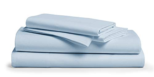 600 Thread Count 100% Cotton Sheet Light Blue King Sheets Set, 4-Piece Long-staple Combed Pure Cotton Best Sheets For Bed, Breathable, Soft & Silky Sateen Weave Fits Mattress Upto 18'' Deep Pocket