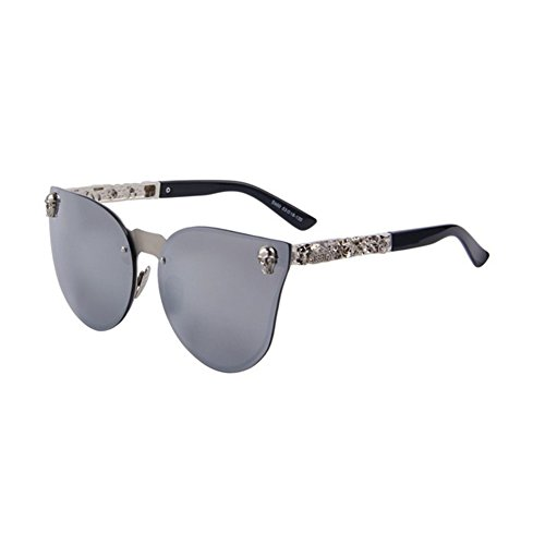 Women Gothic Sunglasses Men Skull Frame Metal Temple Sunglasses UV400 (Silver, - Sunglasses Chili Bean