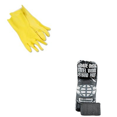 KITBWK242LGMA117000 - Value Kit - Global Material Technologies Industrial-Quality Steel Wool Hand Pad (GMA117000) and Galaxy 242L Yellow Reusable Flock Lined Gloves, Large (BWK242L)