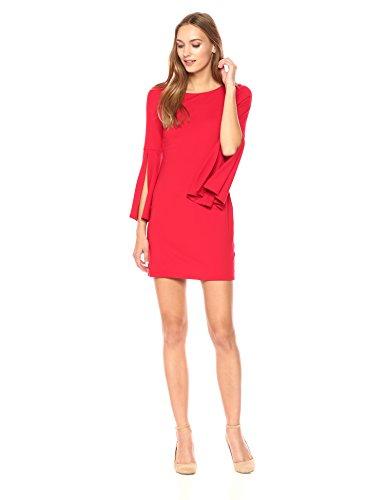 Susana Monaco Women's Arabella Long Sleeve Flare Cuffed Dress, Perfect Red, XL by Susana Monaco (Image #1)