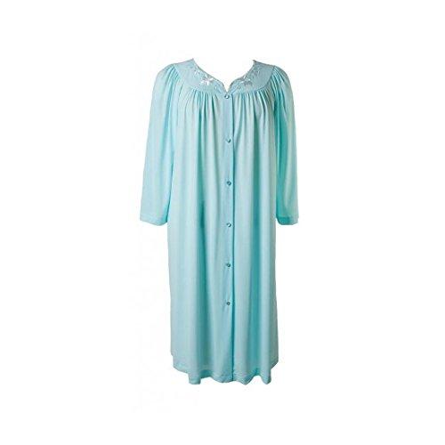New Miss Elaine Seafoam/Pink Short Button Nylon Robe - 3XL - Miss Elaine Short