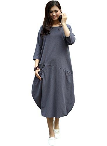 Anysize Soft Linen Lantern Loose Dress Spring Summer Fall Plus Size Clothing Y19,Gray,Medium, Gray, (Linen Summer Dress)