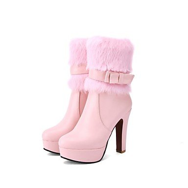 Toe RTRY Chunky Pink 5 Boots For Casual Booties Blushing Dress 2 Women'S Fashion Bowknot Ankle EU34 CN33 Boots Round Heel 4 US4 Leatherette 5 Boots Shoes Winter UK2 vfr0v