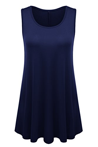 (Womens Plus Size Solid Sleeveless Swing Flared Tunic Top 2X 751-Navy Blue)