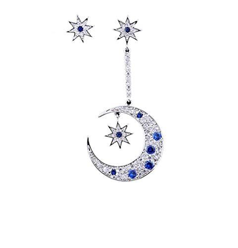 MeniaMeow S925 Pure Silver Needle with Tiny Blue Zircon Rhinestone Asymmetric Stars and Moon Hook Earrings ()