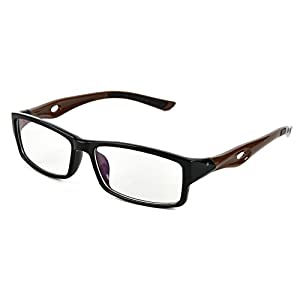 Beison Sports Optical Eyeglasses Frame Plain Glasses Clear Lens UV400 (Black frame with coffee temples, 53mm)