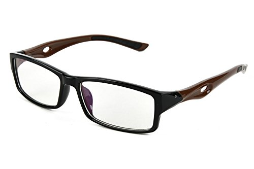 Beison Sports Optical Eyeglasses Frame Plain Glasses Clear Lens UV400 (Black frame with coffee temples, - Glasses Uv Clear
