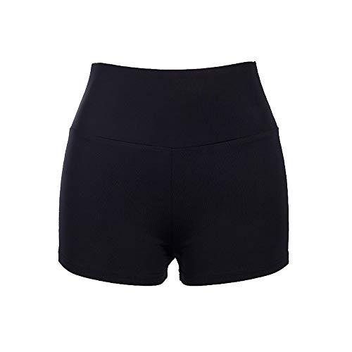(POQOQ Pants Women Sports Shorts Gym Workout Waistband Skinny Yoga Short S)