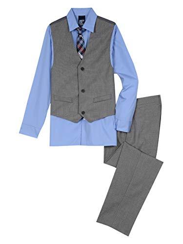 Boys Grey Suit (Izod boys 4-Piece Formal Vest Set with Shirt, Vest, Pants, and Tie, Light Gray,)