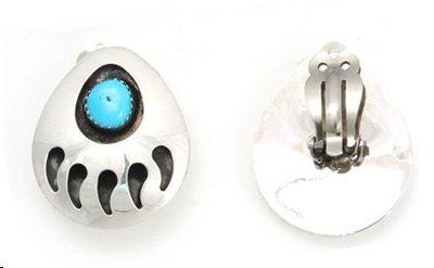 Silver Bear Design - By Navajo Artist Gaynell Parker: Pretty! Sterling-Silver Bear Paw Design Clip on Earrings