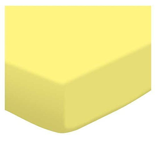 SheetWorld Fitted Pack N Play (Graco Square Playard) Sheet – Solid Lemon Jersey Knit – Made In USA Review