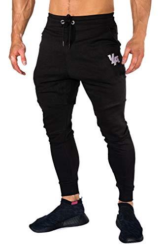 YoungLA Joggers Men Slim Fit Sweatpant Gym Workout Zipper Pocket 202 Black X-Large (Best Slim Fit Sweatpants)