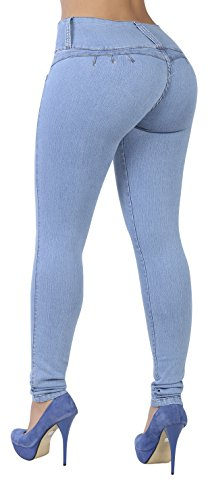 (Curvify 764 Women's Butt-Lifting Skinny Jeans | High-Rise Waist, Brazilian Style Sky Blue 13)