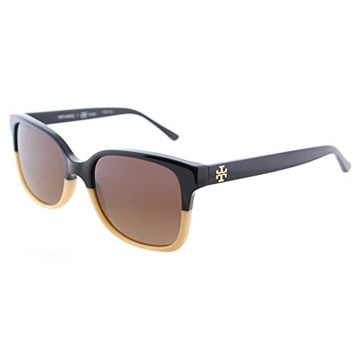 Tory Burch TY 7103 1236T5 Black Cream Plastic Square Sunglasses Brown Gradient Polarized - Burch Polarized Tory