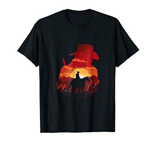 Red sunset cowboys t-shirt men women