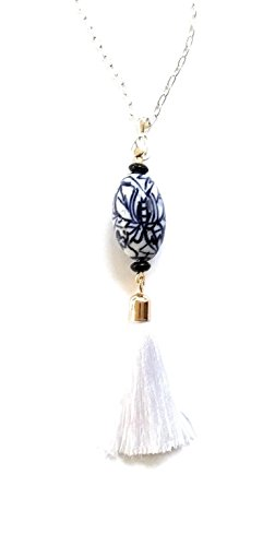 Lantern Tassel China Blue Porcelain Long 30 Inch Necklace Chain Plus Chain Porcelain Necklace