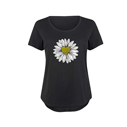 Daisy Heart Drawing - Ladies Plus Size Scoop Neck Tee Black