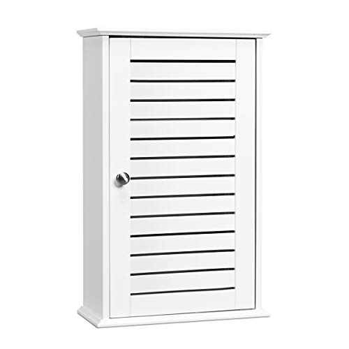 Tangkula Bathroom Wall Cabinet, Medicine Cabinet with 3 Tier Adjustable Storage Shelves with Single Louvered Door, Hanging Cupboard for Home Living Room Kitchen Bedroom Hotel White