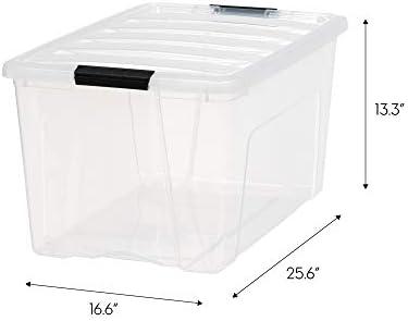 IRIS USA TB-62 Stack & Pull Box, Multi-Purpose Storage Bin, 72 Quart, Clear, 4 Pack