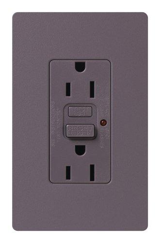 Lutron SCR-15-GFCI-PL Satin Colors 15A GFCI Electrical Socket Receptacle, Plum